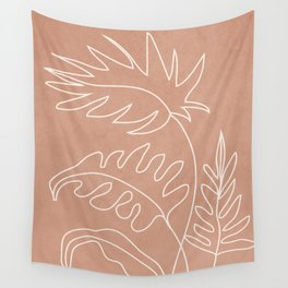 Engraved Plant Line Wall Tapestry