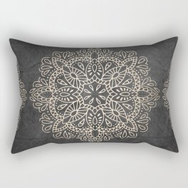Mandala White Gold on Dark Gray Rectangular Pillow