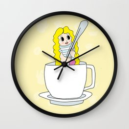 Biondina at coffee time Wall Clock