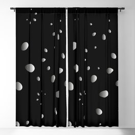 Monochrome drops and petals on a gray background in nacre. Blackout Curtain