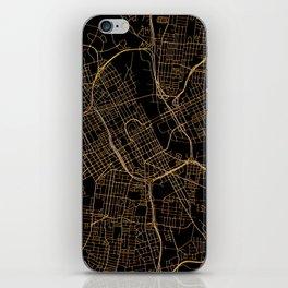 Black and gold Nashville map iPhone Skin