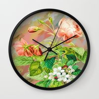 vintage floral Wall Clocks featuring Vintage Floral  by Colorful Art
