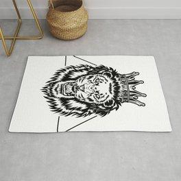 Crowned Lion Illustration Rug