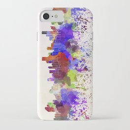 Bogota skyline in watercolor background iPhone Case