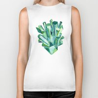 geode Biker Tanks featuring Emerald Watercolor by Cat Coquillette