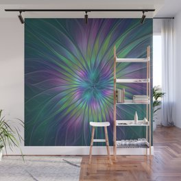 Colorful and luminous Fantasy Flower, Abstract Fractal Art Wall Mural