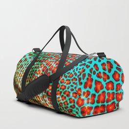 Leopard spot flowers on fabric Duffle Bag
