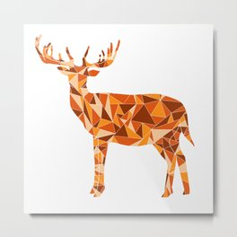 Stag - King of the Forest Geometric Digital Print Metal Print