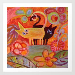 cats and tails Art Print
