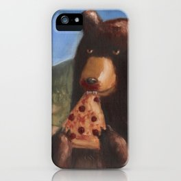 Bear Eating Pizza iPhone Case