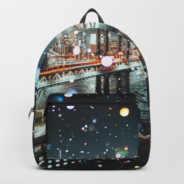 New York City Lights Manhattan Rooftop City Views Backpack
