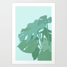 Minimal Monstera Leaves - Greener Eden Art Print