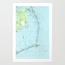 Vintage Southern Outer Banks Map (1957) Art Print