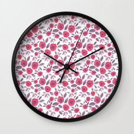 Pink & Purple Blooms Wall Clock