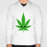 weed Hoodies featuring kawaii weed by kidkb09