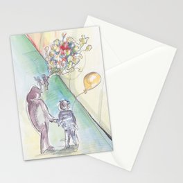 'Balloons' Watercolor Illustration Painting Stationery Cards