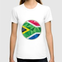 south africa T-shirts featuring South Africa Flag Icon Circle Low Polygon by patrimonio