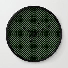 Black and Hippie Green Polka Dots Wall Clock