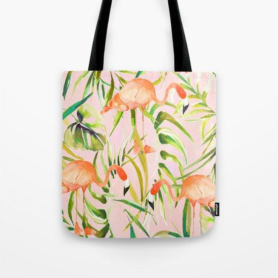 Sorbet Flamingo palms Tote Bag