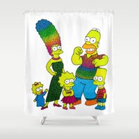 simpsons Shower Curtains featuring The Simpsons by Luna Portnoi