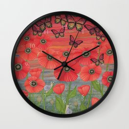 red sky, butterflies, poppies, & snails Wall Clock