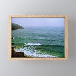 Rain on the ocean Framed Mini Art Print