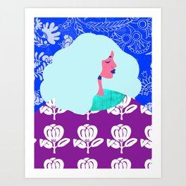 Blue Wallpaper Girl Art Print