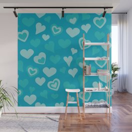 Turquoise sweet love hearts  Wall Mural