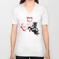 poland V-neck T-shirts featuring Polish Hussar - Poland - Polska Husaria by viva la revolucion