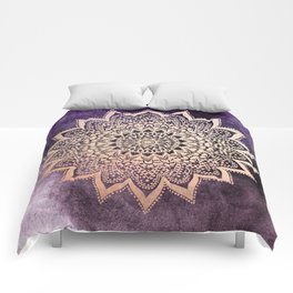 GOLD NIGHTS MANDALA IN PURPLE Comforters