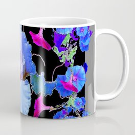 BLUE MORNING GLORIES & WHITE IRIS  SPRING  GARDEN ART Coffee Mug