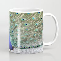 peacock Mugs featuring Peacock by Whimsy Romance & Fun