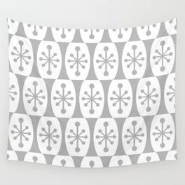 Mid Century Modern Atomic Fusion Pattern Grey Wall Tapestry