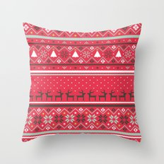Festive FairIsle - Red Throw Pillow