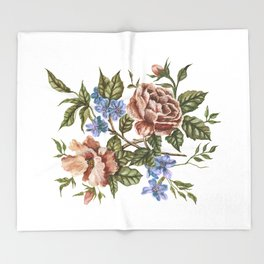 Rustic Florals Throw Blanket