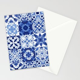 Indigo Watercolor Tiles Stationery Cards