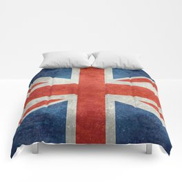 Union Jack flag, grungy retro 1:2 scale Comforters