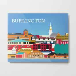 Burlington, Vermont - Skyline Illustration by Loose Petals Metal Print
