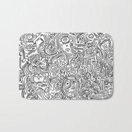 Primitive Art in Black and white pattern Bath Mat