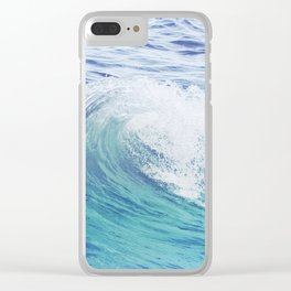 Sea Wave Minimal Poster Clear iPhone Case