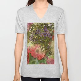 Floral Collage  Unisex V-Neck