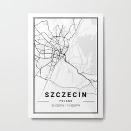 Szczecin Light City Map Metal Print