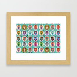 funny colored owls on a turquoise background Framed Art Print