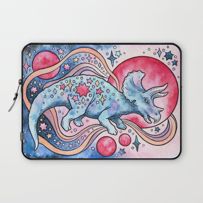 Star Tricera | Cosmic Dinosaur Watercolor Laptop Sleeve
