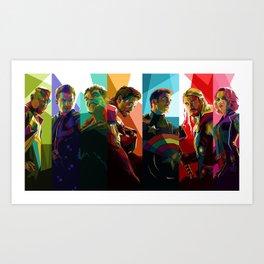 WPAP Avenger - Iron Man, Cap America, Thor, Black Widow, Hulk, Nick, Clint Art Print