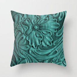 Teal Flower Tooled Leather Throw Pillow