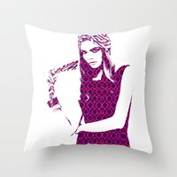 cara delevingne Throw Pillows featuring Cara Delevingne by fashionistheonlycure