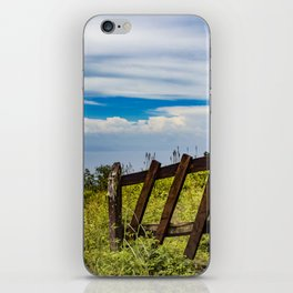 Wood Fence Lining a Meadow with Lake Views on Mombacho Volcano in Nicaragua iPhone Skin