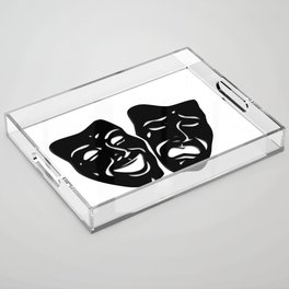 Theater Masks of Comedy and Tragedy Acrylic Tray