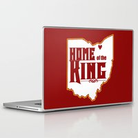 lebron Laptop & iPad Skins featuring Home of the King (Red) by Denise Zavagno
